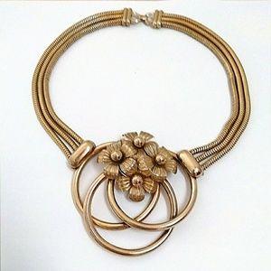 Vintage Gold Tone Floral Statement Necklace